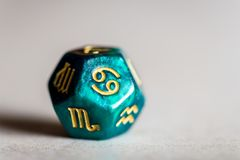 Astrology Dice with zodiac symbol of Cancer. Jun 21 - Jul 22 stock images
