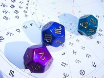 Astrology dices and natal chart future telling. Astrology dices with natal chart, in future telling studio in Belgrade, Serbia royalty free stock photo