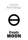Astrology: Empty MOON. Astrology Alphabet: Empty MOON (Moon without course). Hieroglyphics character sign (single symbol&#x29 Royalty Free Stock Photography