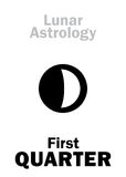 Astrology: First QUARTER of MOON Royalty Free Stock Photos