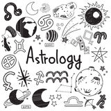 Astrology and fortunetelling doodle sign and symbol doodle Royalty Free Stock Images