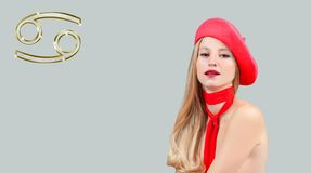 Astrology and horoscope, Cancer Zodiac Sign. Beautiful woman in red beret. Cancer Zodiac Sign. Astrology and horoscope concept, beautiful woman in red beret with royalty free stock images