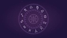 Astrology horoscope circle with zodiac signs vector background. Cosmos, space. Aquarius, libra, leo, taurus, cancer, pisces, virgo