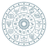 Astrology horoscope circle with zodiac signs vector background. Form symbol horoscope calendar, collection zodiacal animals illustration Royalty Free Stock Images