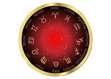 Astrology and horoscope - gold signs of zodiac over night. Astrology and horoscope - gold signs of zodiac over red night sky and stars dark night sky background Stock Images