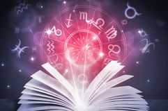 Astrology horoscope book. Astrology horoscope magic book illustration Stock Photography