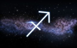 Sagittarius zodiac sign over night sky and galaxy royalty free stock photos