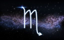 Scorpio zodiac sign over night sky and galaxy stock image
