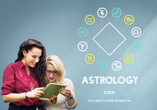 Astrology Horoscope Zodiac Sign Concept. People Learning Astrology Horoscope Zodiac Sign Royalty Free Stock Photos