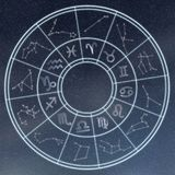 Astrology and horoscopes concept. Astrological zodiac signs in c. Ircle on starry background. Concept Background stock images