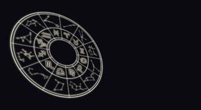 Astrology and horoscopes concept. Astrological zodiac signs in c. Ircle on starry background. Concept Background stock photography