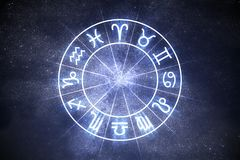 Astrology and horoscopes concept. Astrological zodiac signs in circle. Astrology and horoscopes concept. Astrological zodiac signs in circle on starry Royalty Free Stock Images