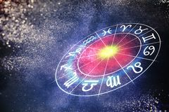 Astrology and horoscopes concept. Zodiac signs in circle. 3D rendered illustration.  Stock Image