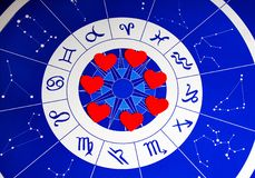 Astrology and love. Astrological background with signs and constellation and red hearts shapes in the center Stock Photography