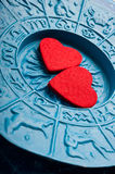 Astrology and love. Love for astrrology with zodiac background and red hearts stock photography