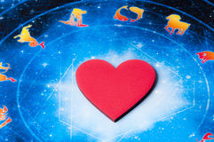 Astrology and love. Red heart lying on astrology background royalty free stock photography