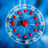 Astrology and love. Astrology with zodiac signs and love concept royalty free stock photography