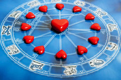 Astrology and love. Astrology with zodiac signs and love concept Stock Image