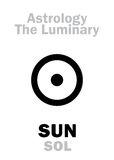 Astrology: Luminary SUN (SOL). Astrology Alphabet: Luminary SUN (SOL), center of Universe (Heliocenter). Hieroglyphics Royalty Free Stock Photos