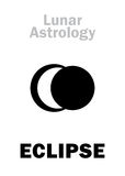 Astrology: Lunar ECLIPSE. Astrology Alphabet: Lunar ECLIPSE, astronomical phenomenon. Hieroglyphics character sign (single symbol&#x29 Stock Photography