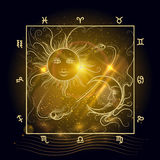 Astrology map shining sun and moon Stock Image
