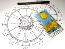 Astrology Natal Chart Tarot Card The Moon vector illustration