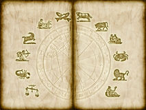 Astrology in old style. Astrological symbols and horoscope over old grungge, grainy sepia book stock illustration