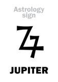 Astrology: planet JUPITER. Astrology Alphabet: JUPITER (Zeus), classic major planet. Hieroglyphics character sign (ancient greek symbol) stock illustration