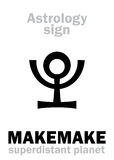 Astrology: planet MAKEMAKE. Astrology Alphabet: MAKEMAKE, superdistant dwarf planet. Hieroglyphics character sign (single symbol&#x29 Royalty Free Stock Photos