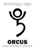 Astrology: planet ORCUS. Astrology Alphabet: ORCUS, superdistant planet-plutino (beside Pluto). Hieroglyphics character sign (single symbol&#x29 Royalty Free Stock Photo