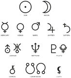 Astrology Planet Symbols stock illustration