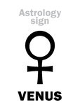 Astrology: planet VENUS (female). Astrology Alphabet: VENUS (female), classic minor personal planet. Hieroglyphics character sign &#x28 Royalty Free Stock Photography