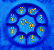 Astrology planets. Astrological wheel with planets symbols royalty free illustration