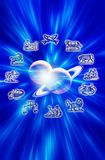 Astrology and planets. Astrological symbols with two planets over blue background stock illustration