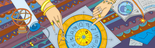 Astrology Prognostication Banner. Womens hands show on zodiac signs. The astrological prognosis Royalty Free Stock Image