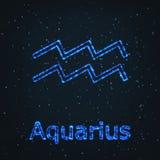 Astrology Shining Blue Symbol. Zodiac Aquarius. Stock Image
