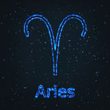 Astrology Shining Blue Symbol. Zodiac Aries. Stock Photos