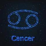 Astrology Shining Blue Symbol. Zodiac Cancer. Royalty Free Stock Photography