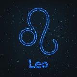 Astrology Shining Blue Symbol. Zodiac Leo. Royalty Free Stock Photo