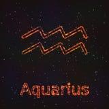 Astrology Shining Symbol. Zodiac Aquarius. Royalty Free Stock Images