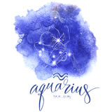 Astrology sign Aguarius. On  blue watercolor background with modern lettering. Zodiac constellation with  shiny star shapes. Part of zodiacal system and ancient Royalty Free Stock Image