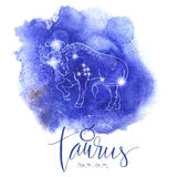 Astrology sign Aries. On blue watercolor background with modern lettering. Zodiac constellation with  shiny star shapes. Part of zodiacal system and ancient Royalty Free Stock Photos