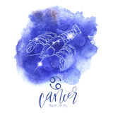Astrology sign Cancer. On blue watercolor background with modern lettering. Zodiac constellation with  shiny star shapes. Part of zodiacal system and ancient Stock Photography