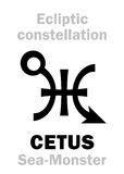 Astrology: Sign of constellation CETUS (The Sea-Monster) Royalty Free Stock Images