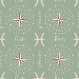 Astrology sign Fish. Seamless pattern Stock Photography