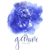 Astrology sign Gemini. On blue watercolor background with modern lettering. Zodiac constellation with  shiny star shapes. Part of zodiacal system and ancient Stock Images