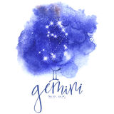 Astrology sign Gemini. On blue watercolor background with modern lettering. Zodiac constellation with  shiny star shapes. Part of zodiacal system and ancient Royalty Free Stock Photos