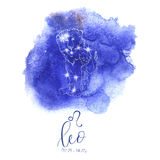Astrology sign Leo. On blue watercolor background with modern lettering. Zodiac constellation with  shiny star shapes. Part of zodiacal system and ancient Stock Photos