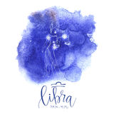 Astrology sign Libra. On blue watercolor background with modern lettering. Zodiac constellation with  shiny star shapes. Part of zodiacal system and ancient Stock Photography
