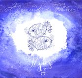 Astrology sign Pisces. On  blue watercolor background with modern lettering. Zodiac constellation with  shiny star shapes. Part of zodiacal system and ancient Stock Photography